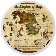 New Map Of The Kingdoms Of Magic Round Beach Towel