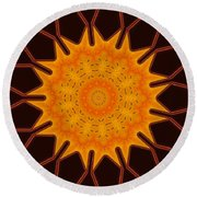 New Media Art Marigold On Mocha Kaleidoscope  Round Beach Towel