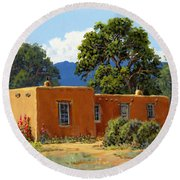 New Mexico Adobe Round Beach Towel