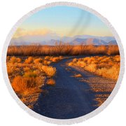 New Mexico Back Country Road Round Beach Towel