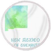 New Mexico - Land Of Enchantment - Map - State Phrase - Geology Round Beach Towel
