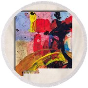 New Mexico Map Art - Painted Map Of New Mexico Round Beach Towel
