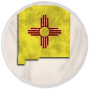 New Mexico Map Art With Flag Design Round Beach Towel by World Art Prints And Designs