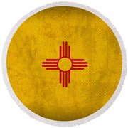 New Mexico State Flag Art On Worn Canvas Round Beach Towel