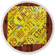 New Mexico State License Plate Map Round Beach Towel