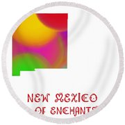 New Mexico State Map Collection 2 Round Beach Towel