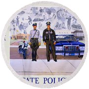New Mexico State Police Poster Round Beach Towel