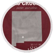 New Mexico State University Las Cruces Aggies College Town State Map Poster Series No 075 Round Beach Towel
