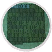 New Mexico Word Art State Map On Canvas Round Beach Towel