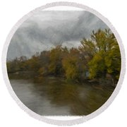 New Milford By Water Side Round Beach Towel