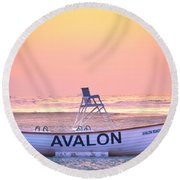 New Morning In Avalon Round Beach Towel