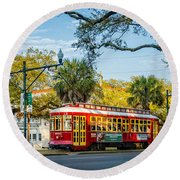 New Orleans - Canal St Streetcar 2 Round Beach Towel