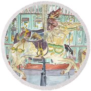 New Orleans Carousel Round Beach Towel