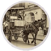 New Orleans - Carriage Ride Sepia Round Beach Towel