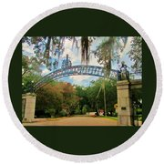 New Orleans City Park - Pizzati Gate Entrance Round Beach Towel