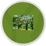 New Orleans City Park - Live Oak Round Beach Towel