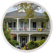 New Orleans Frat House Round Beach Towel