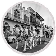 New Orleans Funeral Monochrome Round Beach Towel