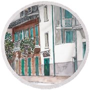 New Orleans Gov. Nichols And Royal St Round Beach Towel by Anthony Butera