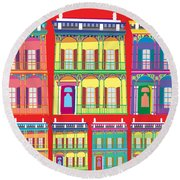 New Orleans Houses Round Beach Towel