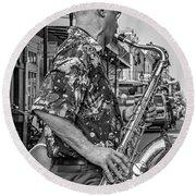 New Orleans Jazz Sax Bw Round Beach Towel