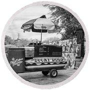New Orleans - Lucky Dogs Bw Round Beach Towel by Steve Harrington