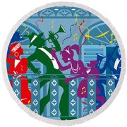 New Orleans Mardi Gras Balcony Round Beach Towel