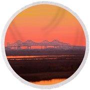 New Orleans Mississippi Bridge Round Beach Towel