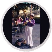 New Orleans Musician Round Beach Towel