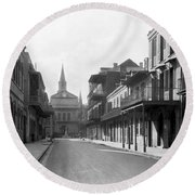 New Orleans Old French Quarter Round Beach Towel