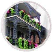 New Orleans Porches Round Beach Towel