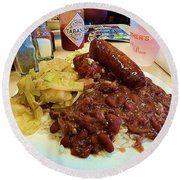New Orleans Red Beans And Rice Round Beach Towel