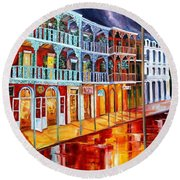 New Orleans Reflections In Red Round Beach Towel