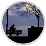 New Orleans Riverwalk Silhouette Round Beach Towel