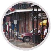New Orleans Street Scene Round Beach Towel