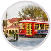 New Orleans Streetcar Paint Round Beach Towel