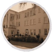 New Perry Hotel In Sepia Round Beach Towel