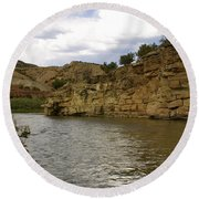 New Photographic Art Print For Sale Banks Of The Rio Grande New Mexico Round Beach Towel