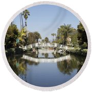 New Photographic Art Print For Sale Canals Of Venice California Round Beach Towel
