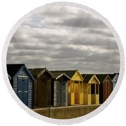 Colourful Wooden English Seaside Beach Huts Round Beach Towel