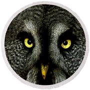 New Photographic Art Print For Sale   Great Grey Owl Round Beach Towel