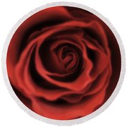 Close Up Heart Of A Red Rose Round Beach Towel