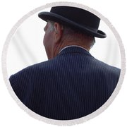 New Photographic Art Print For Sale   Iconic London Man In Bowler Hat Round Beach Towel
