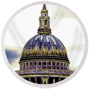 New Photographic Art Print For Sale   Iconic London St Paul's Cathedral Round Beach Towel