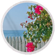 New Photographic Art Print For Sale On The Fence Montecito Bougainvillea Overlooking The Pacific Round Beach Towel