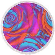 Pop Art Pink Neon Roses Round Beach Towel