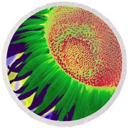 New Photographic Art Print For Sale Pop Art Sunflower 2 Round Beach Towel