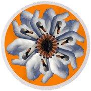 New Photographic Art Print For Sale Pop Art Swan Flower On Orange Round Beach Towel