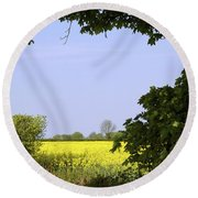 New Photographic Art Print For Sale Yellow English Fields 3 Round Beach Towel