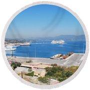 New Port Corfu Round Beach Towel